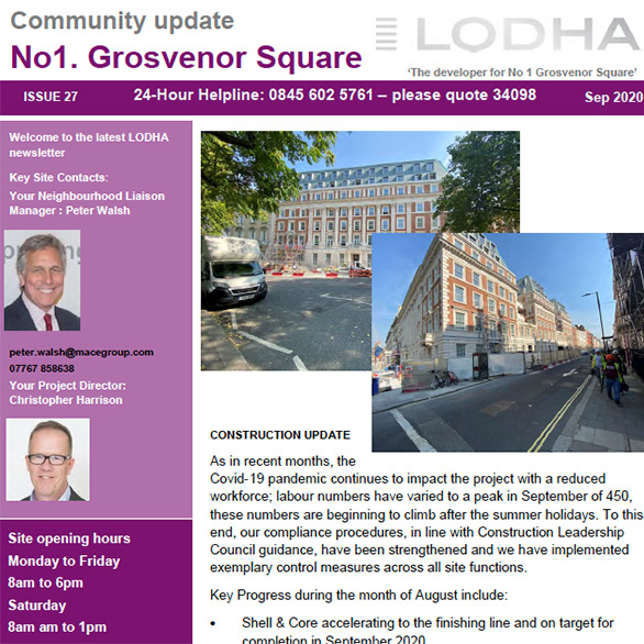 1 Grosvenor Square Newsletter (September 2020) - Click here to view this entry